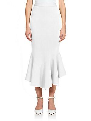 Crepe Jersey Ruffle Midi Skirt