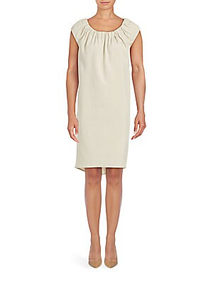 Solid Bunched Neckline Shift Dress