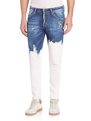 Deep Dip-Washed Skinny Fit Jeans