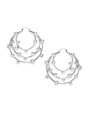 Cubic Zirconia Tiered Circular Hoop Earrings- 2in