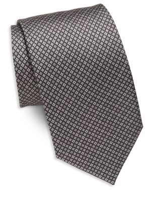 BRIONI Geometric Silk Tie in Na