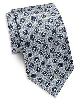 Diamond & Square Print Silk Tie