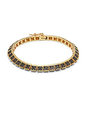 Cubic Zirconia & 18K Gold-Plated Bangle Bracelet