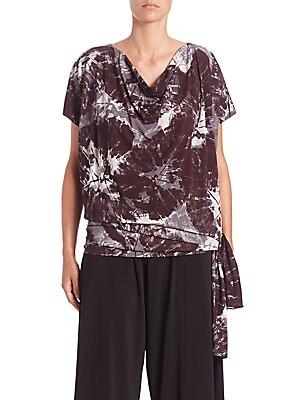 Alocasia-Print Short-Sleeve Jersey Top