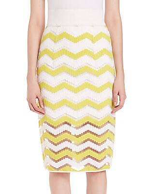 Chevron Jacquard Pencil Skirt