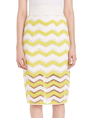 Chevron Jacquard Pencil Skirt