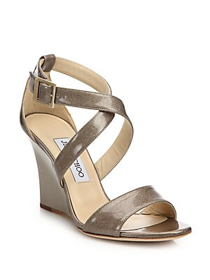 Fearne Glitter Patent Leather Wedge Sandals