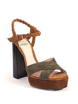 Braided Suede Platform Sandals