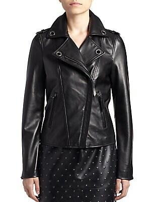Grommet-Detail Leather Jacket
