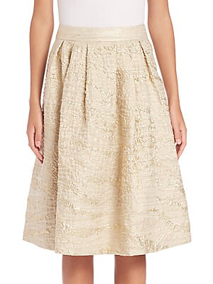 Pleated Metallic Jacquard Skirt