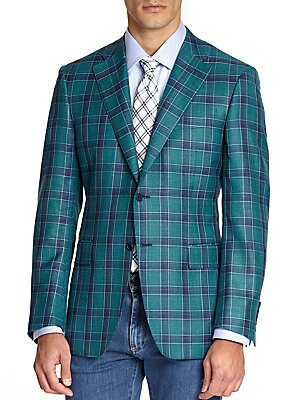 Wool-Blend Windowpane Jacket