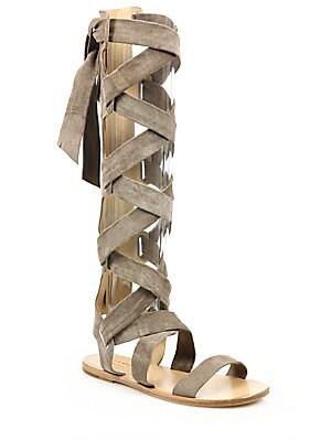 Ilaria Suede Lace-Up Sandals