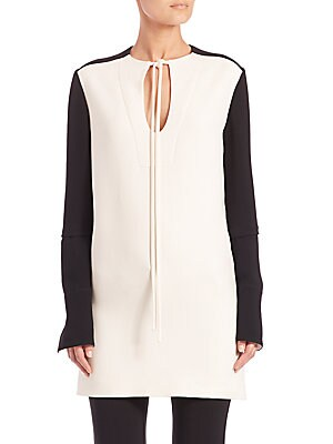 Colorblock Tie-Front Tunic