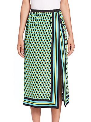 Cube-Print Silk Scarf Skirt