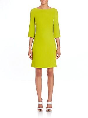 Stretch Wool Crepe Shift Dress