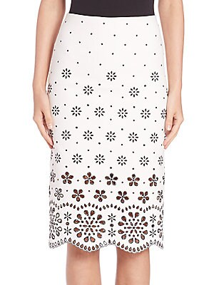 marc jacobs female 45883 broderie anglaise pencil skirt