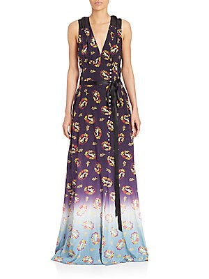 Sleeveless Floral-Print Ribbon Gown