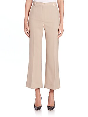Cropped Flare Wool Pants
