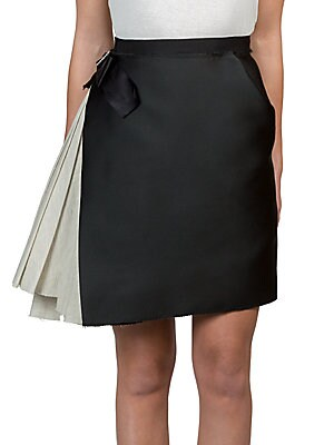 Two-Tone Pleated Panel Skirt