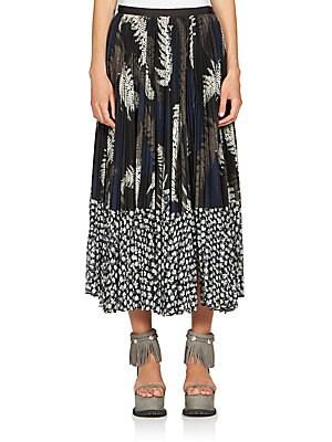 Leaf-Print Plissé Midi Skirt