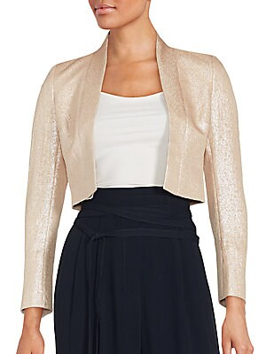 Long Sleeve Open Front Cropped Jacket