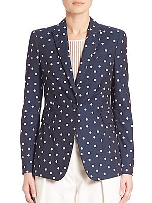 Stretch-Cotton Polka Dot Blazer