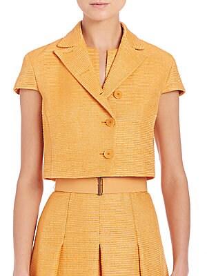 Ribbed Silk Cap-Sleeve Jacket