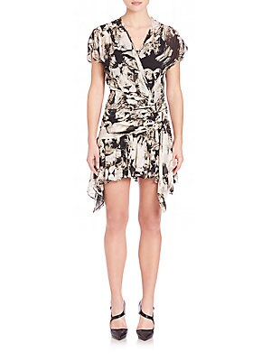 Ruffled Silk Lion-Print Wrap Dress