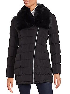 Faux Fur-Trimmed Parka Jacket
