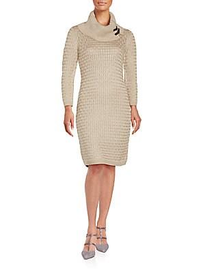 Cowlneck Sweater Sheath Dress