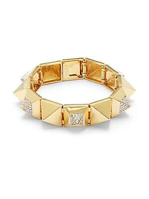 Cubic Zirconia, Crystal & 18K Gold-Plated Bracelet