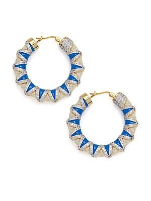 Crystal & Cord Hoop Earrings- 1.5in