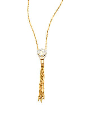 Crystal Pave Chainlink Tassel Necklace