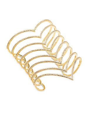 Cuic Zirconia & 18K Gold-Plated Studded Bracelet