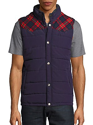 Plaid Sleeveless Puffer Jacket