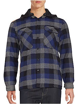 Sherpa-Lined Hooded Plaid Shirt