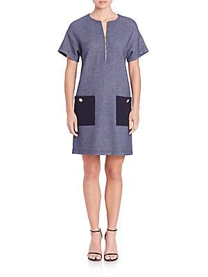 Denim Boucle Patch-Pocket Shift Dress