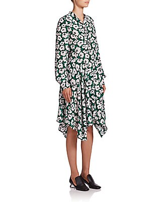 Rita Poppy Print Silk Dress