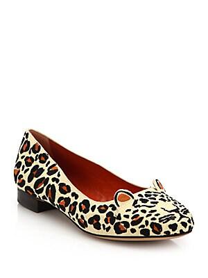 Leopard-Print Linen Kitty Flats