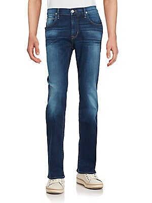 Straight-Leg Faded Jeans