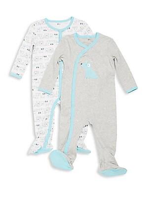 Baby's Heathered Cotton Footie Set