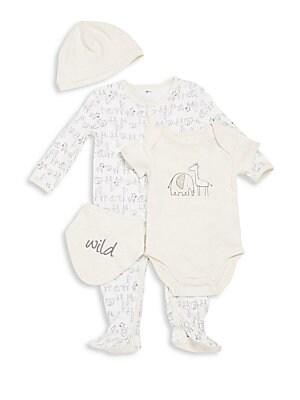 Baby's Four Piece Footie, Bodysuit, Hat & Bloomers Set