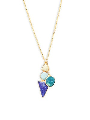 Peruvian Opal, Turquoise and Goldtone Pendant Necklace