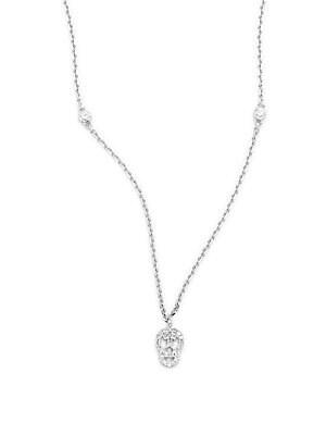 Diamond & 14K White Gold Skull Pendant Necklace