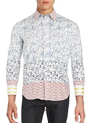 Abstract Geometric Woven Shirt