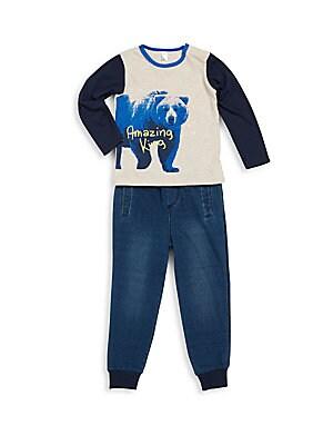 Baby's Bear Printed Tee & Textured Pants Set