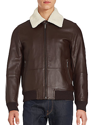 michael kors male lamb woollined leather bomber jacket