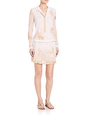 Delphina Metallic-Embroidered Dress