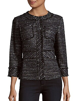 Textured Jewelneck Jacket