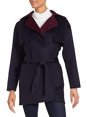 Tie-Waist Wool Blend Coat